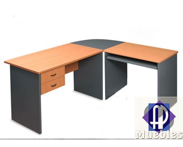 Escritorio esquinero curvo ap muebles for Mesa de esquinero